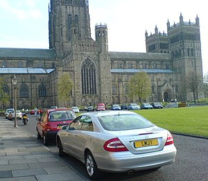 Durham City congestion charge - Since October 2002 - drivers have been charged a fee to access the very heart of Durham City, leading up to the Cathedral, Castle and Palace Green (shown here)