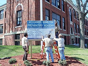 Elizabeth High School (New Jersey) - Alexander Hamilton Preparatory Academy sign being placed in early 2008.