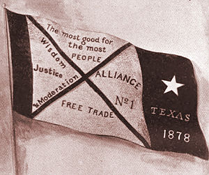 Farmers' Alliance - First banner of the Southern Farmers' Alliance, organized on a statewide basis in Texas in 1878.