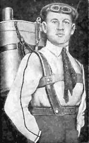 Gleb Kotelnikov - Gleb Kotelnikov with his invention, the knapsack parachute.