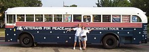 """Gold Star Families for Peace - Gold Star families and Veterans for Peace bring """"Impeachment Tour"""" bus to Crawford, Texas, August, 2005"""