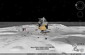Google Earth - One of the lunar landers viewed in Google Moon