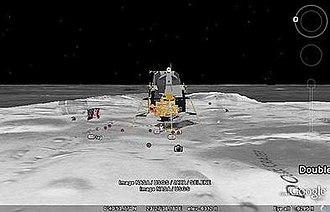 Google Earth - One of the lunar landers viewed in Google Moon