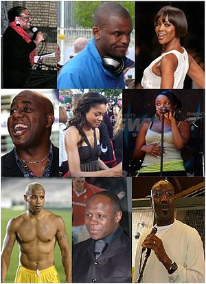 Collage of photos of 9 Jamaican known figures-...