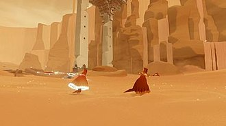 Journey (2012 video game) - The robed figure running in the desert along with another player's figure. One of the figures' scarves is glowing as it charges due to proximity to the other player.