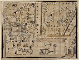 Henry Stuart, Lord Darnley - 1567 drawing of Kirk o' Field after the murder of Darnley, drawn for William Cecil shortly after the murder.