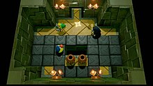 Top-down view of a room with back spaces around it, where a person is evading attacks from two enemies