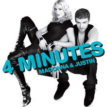 "Madonna sitting beside Justin Timberlake in front of a white background. She is wearing tight black leather pants and a T-shirt. Timberlake is similarly dressed. He has thin lines of beard around his face. The word ""4 Minutes"" is written in blue bold font on their picture."