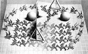 mc escher hand with reflecting sphere meaning