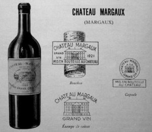 Château Margaux - Château Margaux presentation card dated 1931, demonstrating the designs of the early 20th century, the label, cork, case and capsule markings