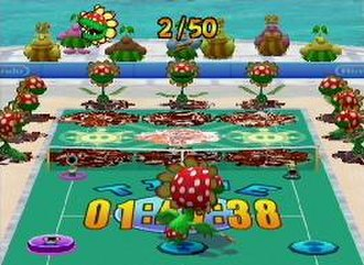 Mario Power Tennis - Petey Piranha in the Tic-Tac-Glow Special Game