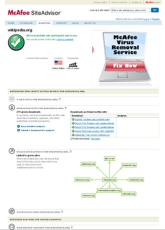 McAfee SiteAdvisor - Image: Mc Afee Site Advisor Website