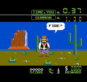 Wild Gunman - Screenshot showing typical gameplay of Wild Gunman for the NES