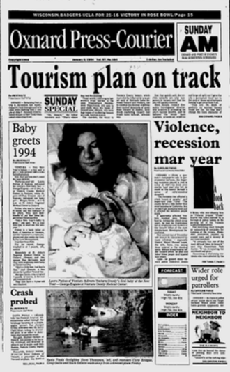 Oxnard Press-Courier - Front page of January 2, 1994 issue