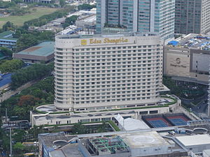Edsa Shangri-La, Manila - Image: Ph=mm=mandaluyong=ed sa=ortigas center=edsa shangri la hotel aerial shot from bsa twin towers philippines 2015 0526 ls