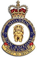 "Crest of 77 Squadron, Royal Australian Air Force, featuring a lion and the motto ""Swift to Destroy"""