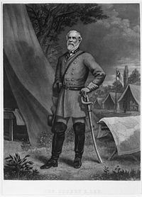 General Robert E. Lee, commander of the Army of Northern Virginia Robert E. Lee in camp.jpg