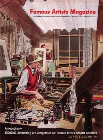 Famous Artists School - Robert Fawcett illustrated this cover for Famous Artists Magazine (Spring 1959).