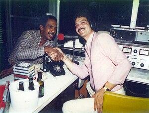 Roberto Roena - Roberto Roena (left) and Puerto Rican Salsa DJ Yun Yun Echevarria at Radio Voz, Carolina, Puerto Rico (1980s)