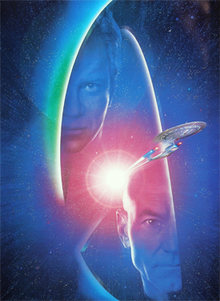 Two partially-shadowed faces look at the camera. In the center, a sleek spaceship emerges from a lens flare.