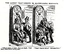 "Caricature in Scraps magazine. The heading reads 'The latest ""Hat""-rocity in au-top-hatic machines'. There are two parts to the caricature, both showing the machine (labelled ""Take your height"") with two inebriated bowler-hatted men. One is sitting on the machine, and the other is standing alongside. In the first part, the caption reads ""'Sh all righsh ol' felah. Don' go slepsh. Push knob; slidesh oom'n'down, y'see!""; In the second part, the standing man had stuck the sitting man on the head with an umbrella. The caption reads ""There! wharrer tell ye? Itsh come down!"""
