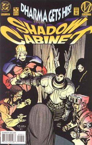 Shadow Cabinet (comics) - The Shadow Cabinet confronts Dharma. Art by John Paul Leon.