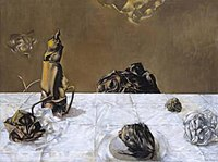 Some Roses and their Phantoms, oil on canvas, 76.3 x 101.5cm, 1952 by Dorothea Tanning. Tate Modern.