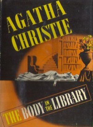 The Body in the Library - Dust-jacket illustration of the US (true first) edition. See Publication history (below) for UK first edition jacket image.