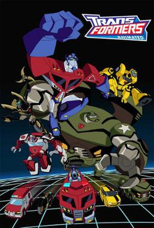 Transformers: Animated - Show poster, displaying the five main Autobots in robot and vehicle modes
