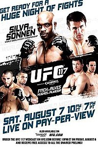 A poster or logo for UFC 117: Silva vs. Sonnen.