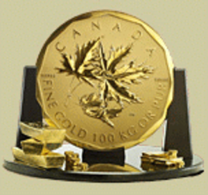Big Maple Leaf - Image: 100kg Canadian Gold On Pedestal
