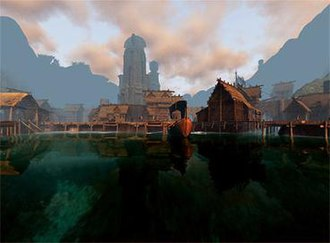 Age of Conan - Tortage City, the backwater capital of the Barrachan Isles, as seen in Age of Conan