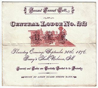 Brotherhood of Locomotive Firemen and Enginemen - Although B of LF lodge meetings were closed and private affairs, individual lodges periodically held formal balls, picnics, and other social or fundraising activities open to the community.