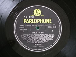 "Beatles for Sale by The Beatles (side 1) - Parlophone yellow and black label. This is an original pressing as the ""Kansas City"" track listing was not yet corrected."