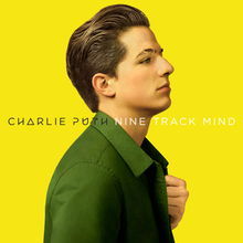 "An image of Puth sporting a green jacket, posing a front a yellow backdrop, with his name and the title, ""Nine Track Mind"" appearing in the portrait's center."