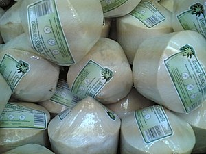 Young coconut, prepared for commercial distrib...