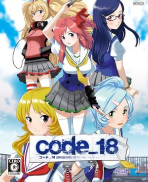 Code 18 - Cover art, featuring (clockwise from top left) Arika, Hikari, Nanari, Yuzu, and Tamaki