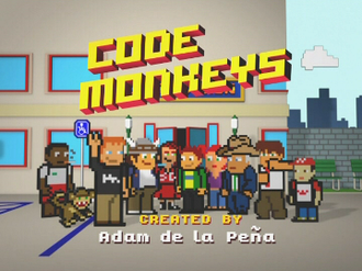 Code Monkeys - Code Monkeys title card; main characters from left to right: Black Steve, Dave, Todd, Clare, Jerry, Mary, Mr. Larrity, Dean and Benny.