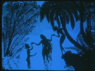 The Adventures of Prince Achmed - Pari Banu (center) with her attendants, preparing to bathe.
