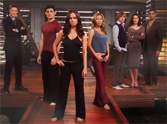 Dollhouse (TV series) - Dollhouse characters. L to R: Paul Ballard, Victor, Echo, Sierra, Topher Brink, Adelle DeWitt, Boyd Langton