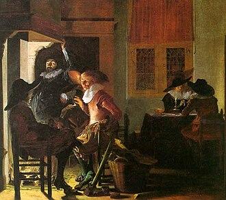 Willem Cornelisz Duyster - Soldiers beside a Fireplace, 1632, oil on wood. Philadelphia Museum of Art, Philadelphia, Pennsylvania, USA.