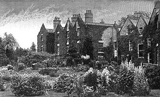 """William Robinson (gardener) - """"Edge Hall, Malpas, Cheshire. Lawn garden with hardy flowers in beds and groups"""" from The English Flower Garden, engraving from a photograph."""