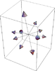 Eutactic star consisting of 5 pairs of vectors in three-dimensional space