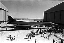 The first B-1B at its roll-out ceremony outside a hangar in Palmdale, California in 1984