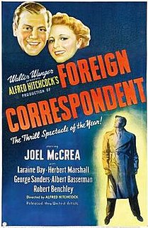 <i>Foreign Correspondent</i> (film) 1940 film by Alfred Hitchcock