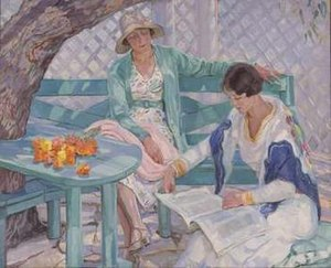 "1933 in art - Image: Hilda Rix Nicholas painting ""The Summer House"""