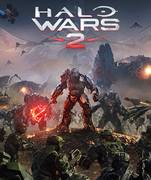 "Armored bear-like aliens carrying weapons march towards the foreground. The center alien is wielding a large, glowing mace-like weapon. In the foreground human military soldier carrying rifles are facing the aliens. The decorative text ""Halo Wars 2"" floats above the scene."