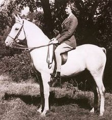 Black and white photograph of Tankersley as a young woman, wearing English riding attire, astride a light gray horse.