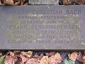 Johann Christian Bach - J. C. Bach's memorial, St Pancras Churchyard, London