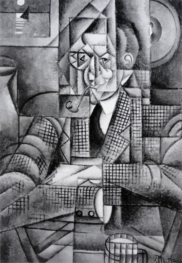 Jean Metzinger, 1911-12, Man with a Pipe (Portrait of an American Smoker), oil on canvas, 92.7 x 65.4 cm (36.5 x 25.75 in), Lawrence University, Appleton, Wisconsin